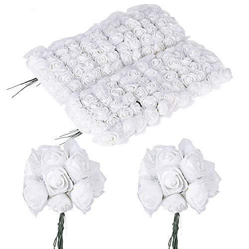 Buondac 144 pz 2.5cm teste di rose fiori artificiali schiuma finte piccole per decorazioni matrimonio festa (bianco con tulle)