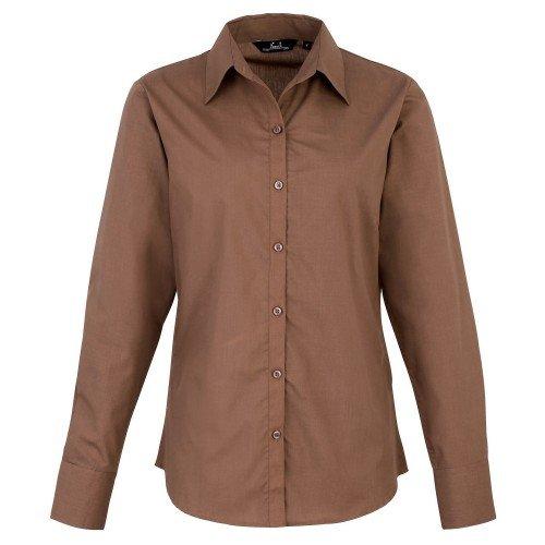 Premier Fitness Poplin Long Sleeve Blouse, Blusa para Mujer, Marrón (Mocha 000), 48