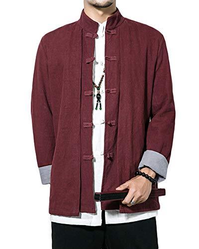 Baumwolle Mischung Anzug (Herren Gefälschte Zwei Stücke Jacke Retro Chinesischen Stil Baumwoll-Leinen-Mischung Mantel Tang Anzug Burgunderrot XXXXL)