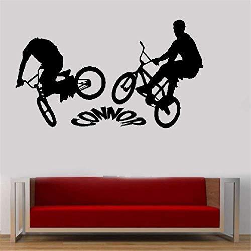 stickers muraux chambre sticker mural Graphique personnalisé de grande chambre à coucher d'enfants de vélo de Bmx fait sur commande n'importe quel nom