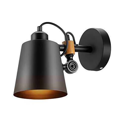 KMYX Industriel noir métal lampe murale américain rétro pays Loft style bois réglable mur lumière Vintage fer mur lanterne pour étude bureau bar Cafe escalier corridor luminaire mur