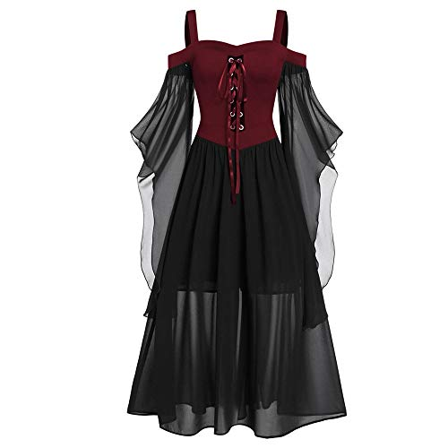Aiserkly Damen Halloween Kleid Plus Size Cold Shoulder Gothic Kleid mit Schmetterlingsärmeln Hexenkostüm Mittelalter Renaissance Kostüm Cosplay Karneval Fasching Rot (Plus Gothic Hexe Kostüm)