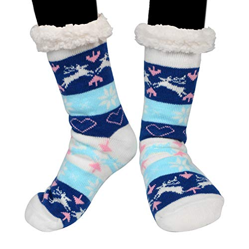 Hüttensocken,Emooqi Stoppersocken Hausschuhe Startseite Socken Stricken Casual Rutschfeste Socken Bequeme und Atmungsaktive Thermische Socken für Dicke Wintersocken Täglichen Verschleiß