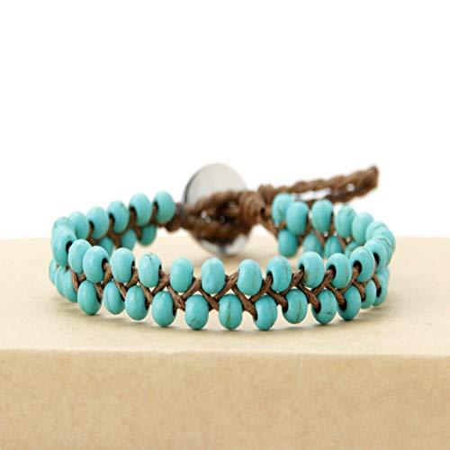 UPPPP Boho Armbänder handgefertigte Steine   Wachs Cord Wrap Armband Perlen String Mädchen Armband Großhandel USA Tribal Armband