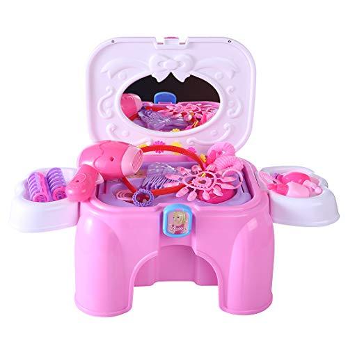 MRKE Kinder Schminkset Mädchen 23er Rosa Kunststoff Rollenspiel Spielzeug Kosmetikkoffer...