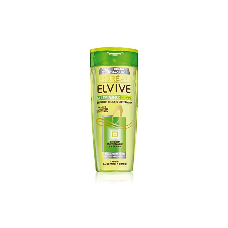 L'Oréal Paris Elvive Multivitaminico Fresh Shampoo Delicato per Capelli da Normali a Grassi