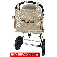 mibebestore - Bolso Talega Lactancia PERSONALIZADA Plastificada para carro color ARENA - Nombre bebé bordado