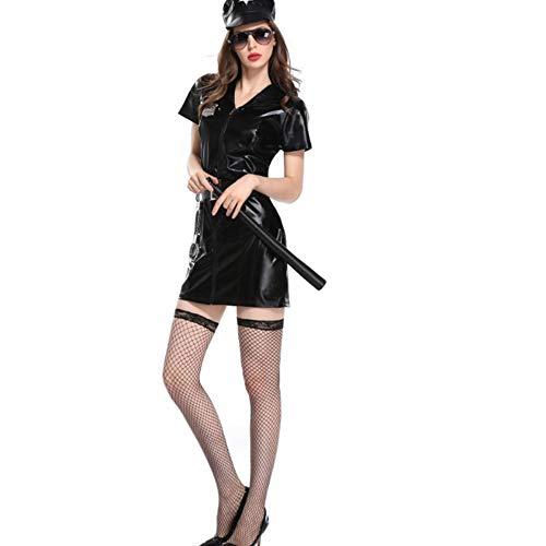 TUWEN Halloween Cosplay Weibliche Polizei Uniform Amerikanischen Swat-Cosplay Kleid Schwarz Agent (Halloween Für Polizei-uniformen)