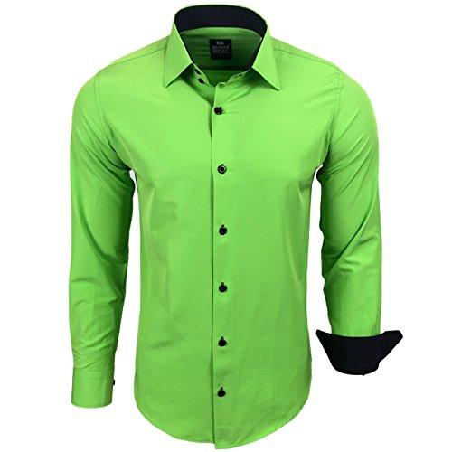 Rusty Neal Herren Kontrast Hemd Business Hochzeit Freizeit Slim Fit S bis 6XL A44, Farbe:Grün, Größe:4XL