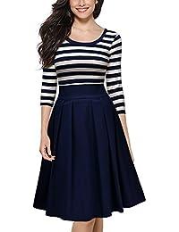 Miusol Damen Abendkleid Vintage 1950er Streifen Rundhals 3/4 Arm Schwingen Pinup Rockabilly Kleid Navy Blau / Schwarz Gr.S-XXL