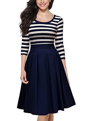 Miusol Damen Vintage 1950er Streifen Rund Ausschnitt 3/4 Arm Retro Schwingen Pinup Rockabilly Kleid Navy Blau Gr.S