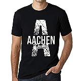 Herren Tee Männer Vintage T-Shirt Letter A Countries and Cities Aachen Noir Schwarz Weißer Text
