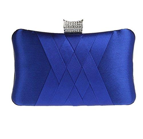 Strawberryer Simple Diamants Sac De Soirée Sac à Main D'embrayage Dames Banquet Décoration De La Robe Portefeuille blue