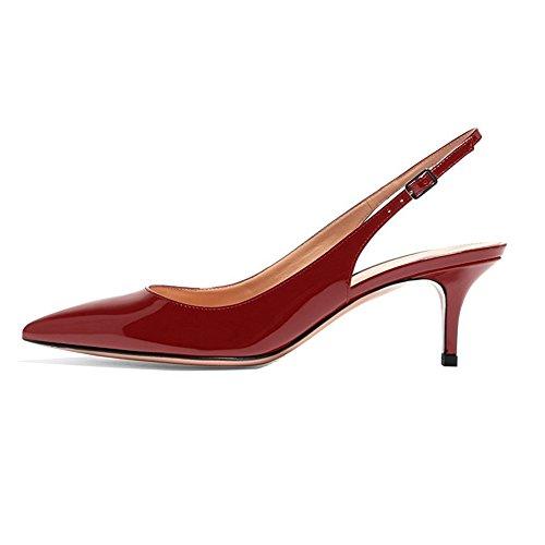 EKS Frauen Spitzschuh Mid Heels Slingback Patent Kleid Party Pumps Schuhe Burgund 36 EU - Glitter Patent Schuhe