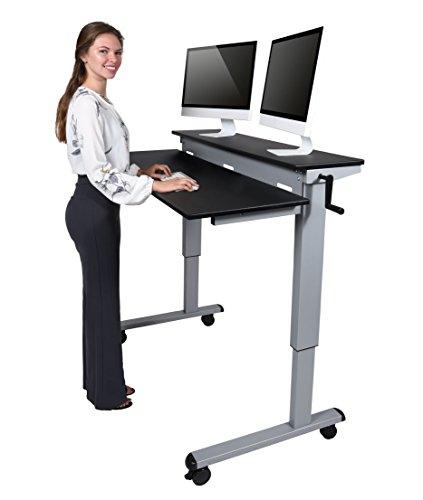 Höhenverstellbarer Schreibtisch - Zwei-Klassen- (Schwarz, Schreibtisch Länge: 120cm)
