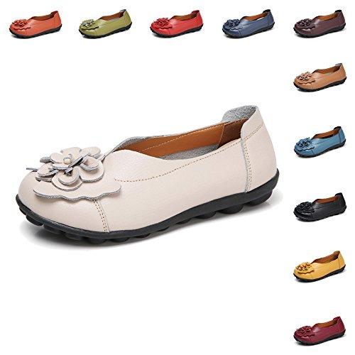 Gaatpot Mujer Mocasines Cuero Vintage Flores Loafers