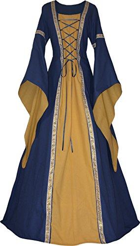 Dornbluth Damen Mittelalter Kleid Anna hell (58, Marine-Safran)