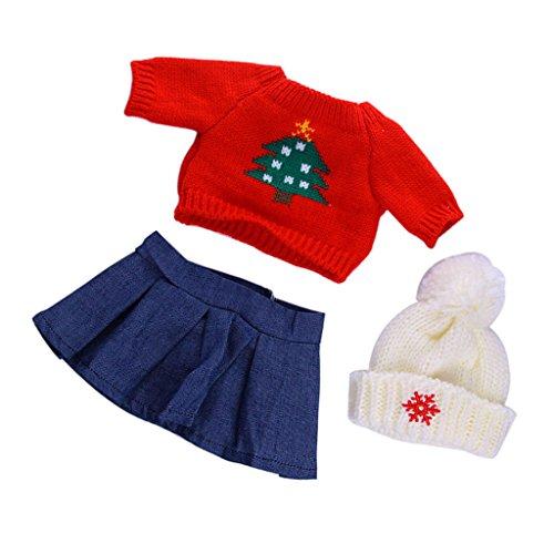 MagiDeal Mode Puppe Weihnachtsbaum Muster Pullover T-Shirt mit Minirock & Hut Set für 18 '' American Girl Puppen ( Rot + Blau ) (American Girl Puppe Rotes T-shirt)