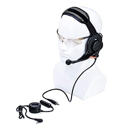 zeadio, ohraufliegende Hörmuschel Headset mit Drehgelenk Boom Mikrofon und schwere Pflicht PTT für 2PIN Motorola Walkie Talkie Zwei-Wege-Radio (Zwei-wege-radio-headset)