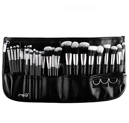 HWQ 29 Makeup Brushes Sets, professioneller Makeup Artist Belt, Set of Makeup Tools, Faserhaar + Aluminiumröhre + Pu-Leder, geeignet für Verschiedene Taillenzirkulation