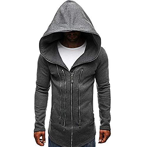 nter Mode Dunkler Umhang Zipper Hoodie Langarm Assassin's Creed Zur Seite Fahren Dick Warm Sweatshirt-Mantel(Dunkelgrau, XL) ()