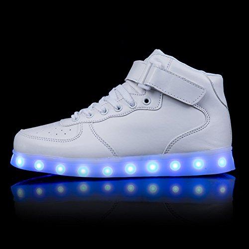 FLARUT LED Schuhe High Top Light Up Sneakers USB Aufladung Blinkende Schuhe Mit Fernbedienung Für Frauen Männer Kinder Jungen Mädchen Weiß