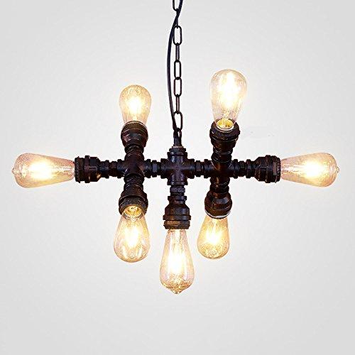 GAOLI Pendelleuchte Schmiedeeisen Rohr Kronleuchter Vintage LED Deckenleuchte (7xE27 Base) Restaurant Bar Tisch Cafe Industrie Lampen
