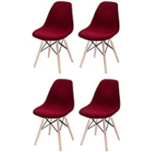 4ccb5ea792774 Lote 4 sillas en tela roja - patas de madera de haya de estilo escandinavo