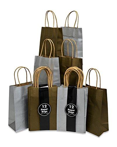 Papier Geschenk Beutel mit Griffen Metallic Gold ans Silber, bulk, Petite Größe 13,3x 21,6x 8,3cm 12von jeder Farbe, Set von 24Beutel (Silber-geschenk-taschen Mit Griffen)