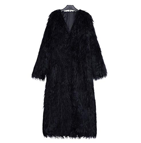 Yuandian donna autunno e inverno casuale super lungo v collare parka cappotto di pelliccia sintetica elegante morbido caldo ecologiche faux pellicce cappotti nero l