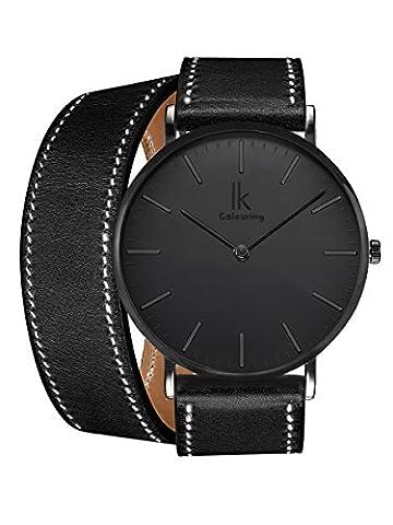 Alienwork IK All Black Quarz Armbanduhr Ultra-flach Uhr Damen Uhren Herren Doppel Wrap Leder schwarz