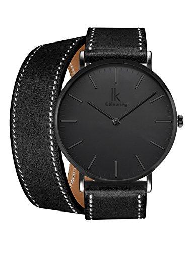 Alienwork IK All Black Damen Herren Armbanduhr Quarz schwarz mit Lederarmband Ultra-flach Slim-Uhr -