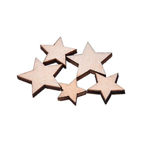 100pcs mini Wood Stars Wooden Mixed Crafts Card making for Scrapbooking Embellishments