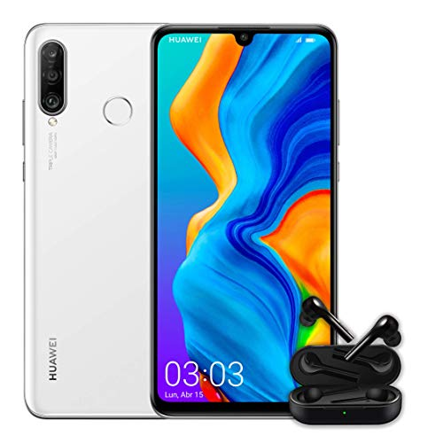 "Huawei P30 Lite + Huawei Free Buds -Smartphone de 6.15"" (WiFi, Kirin 710, RAM de 4 GB, memoria interna de 128 GB, cámara de 48 + 2 + 8 MP, Android 9), color blanco"