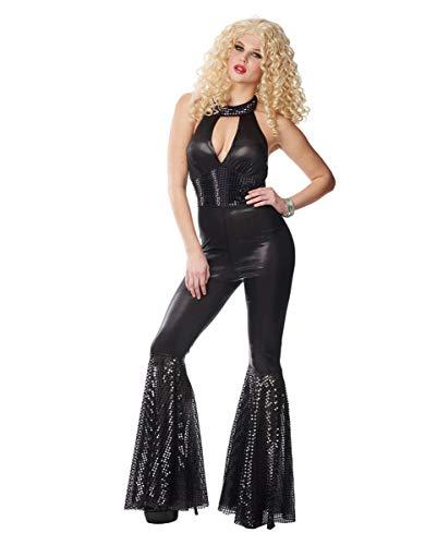 Horror-Shop Schwarzer 70er Jahre Disco Diva Kostümanzug für Fasching & Mottoparty S