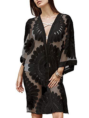 Lace Kaftan (Floral Crochet Lace Badeanzug Vertuschungen für Frauen, Strand Vertuschungen Kimono Cardigan Kleid, Frauen Sexy Kaftan Badeanzug (Schwarz, M(EU 38-42)))