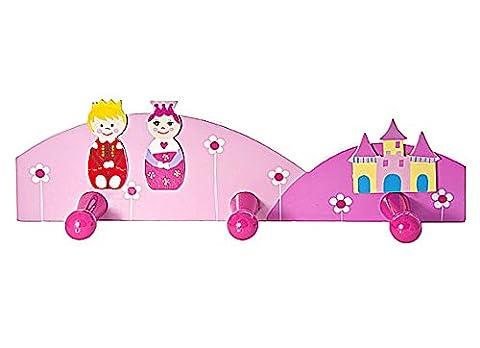 Kids Pink Princess Coat Hook Wall Hooks for Girls Themed Nursery or Bedroom Decoration
