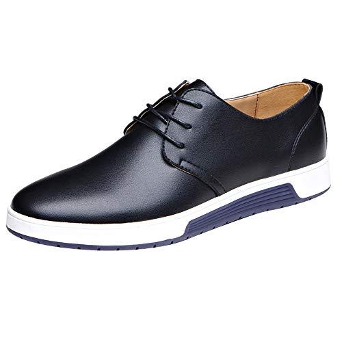 Dorical Herren Schnürhalbschuhe/Männer Anzugschuhe Oxford, Kunstlederschuhe Business Casual Lackleder Hochzeit Schnürhalbschuhe Schwarz Gelb Blau 38-47 Sale(Schwarz,39)