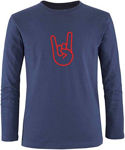 EZYshirt® Rock Hand Herren Longsleeve Navy/ Rot