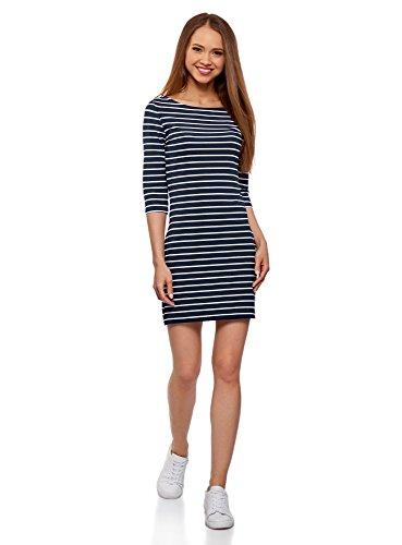 oodji Ultra Damen Jersey-Kleid Basic, Blau, DE 38 / EU 40 / M