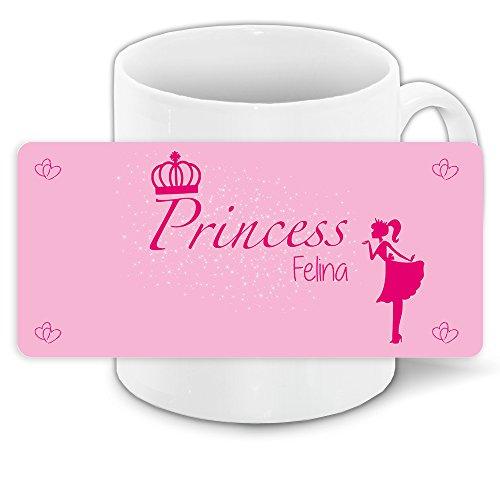 Tasse mit Namen Felina und schönem Prinzessin-Motiv für Mädchen - Tasse für Kinder Keramiktasse