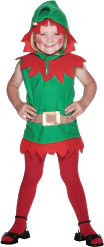 Smiffys, Kleinkind Elfen Kostüm, Tunika mit Kapuze und Gürtel, Größe: T1, (Kostüm Star Children's Christmas)