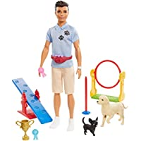 Ken Dog Trainer Playset with Doll, 2 Dog Figures, Hoop Ring, Balance Bar, Jumping Bar, Trophy and 2 Winner Ribbon