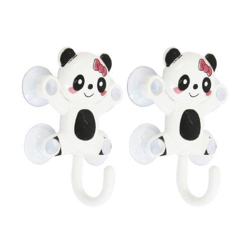 Gancio per appendere mestoli e canovacci a forma di panda nero e bianco con ventose, 1.2Kg, 2 pezzi