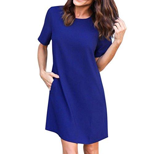 Damen Kleider, GJKK Damen Sommerkleid Beiläufige Rundausschnitt Feste Kurzarm Taschen Plain Kleid Casual Lose T-Shirt Kleid Partykleid Abendkleid Minikleid (Blau, L) (Stoff-abend-tasche)