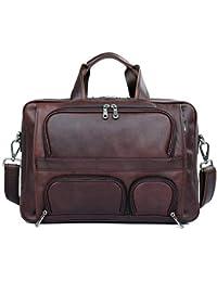 f54a901c84e32 WYGmadlifeqq Leder Business Herren Tasche Große Aktentasche aus Leder 17  Zoll Laptop-Tasche (Farbe