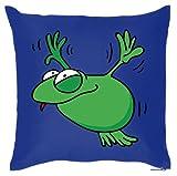 Lustiger Fun Kissen (mit Füllung) mit Tiermotiv - süße Geschenkidee: Fliegender Frosch (Royal-Blau)