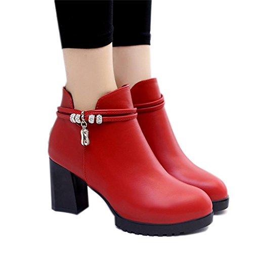 ALUK- Automne et hiver Bottes à talons hauts Bottes rondes Martin Plus velours rembourré ( couleur : Rouge , taille : 38 ) Rouge