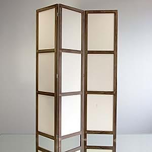 NEG Paravent Rigel (braun) Raumteiler/Sichtschutz aus Echt-Holz und Baumwolle (spanische Wand)