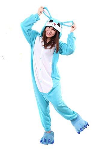 Blau Hase Pyjamas Kostüm Jumpsuit Tier Schlafanzug Erwachsene Unisex Fasching Cosplay Karneval (Faultier Kostüme Tier)